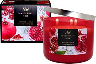 T&H Stress Relief Aromatherapy Candles All Natural Soy Wax and Essential Oils Long Lasting 16 Ounce 80 Hour Burn (Pomegranate Noir)
