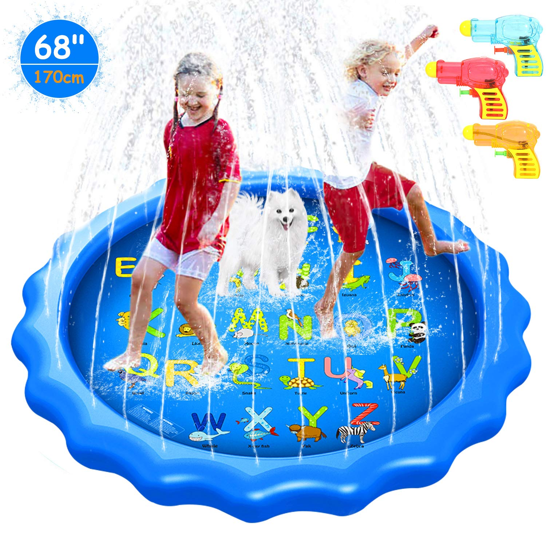 Splash Pad 170CM Aspersor de Juegos de Agua para Niños, PVC Splash pad Almohadilla de Aspersión Juego de Agua Alfombra Juegos Piscina Niño Jardín de Verano Juguetes Acuático Actividades Familiares: Amazon.es: Juguetes