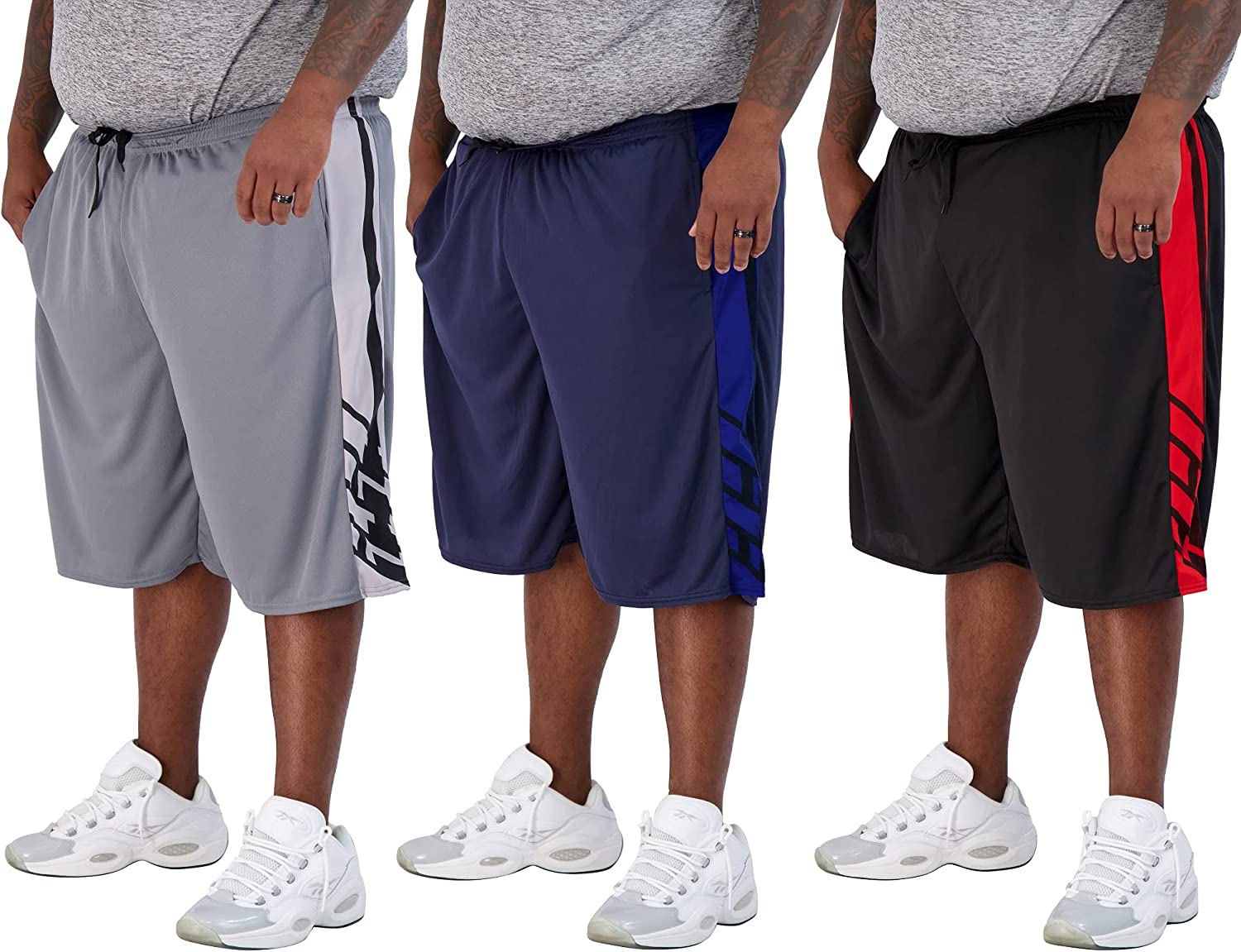 Real Essentials Men's Big & Tall 3-Pack Dry Fit & Mesh Active Athletic Perfomance Shorts (3X-5X)