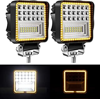 Yorkim Offroad 4x4 Led Fog Lights Amber & White Combo Surrounding-Shape with Flash Strobe, Offroad Led Pod Light Cube, Offroad Led Flood Lights, 4x4 Led Spot Lights For Truck Jeep SUV