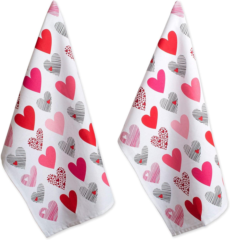 DII Bargain sale Virginia Beach Mall Valentine's Day Collection Kitchen Set Hearts Co Dishtowel