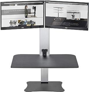 Victor Lotz estación de trabajo, motorizado eléctrica de alta Rise Collection DC450Dual Monitor computadora de pie con doble soporte para Monitor, color negro