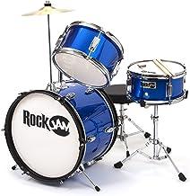 RockJam 3-Piece Junior Drum Set with Crash Cymbal, Drumsticks, Adjustable Throne and Accessories - Blue