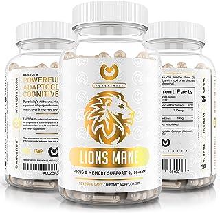 Lions Mane Mushroom Capsules - Max Strength 2100mg + BioPerine - Advanced Nootropic Brain Supplement for Memory & Focus + ...