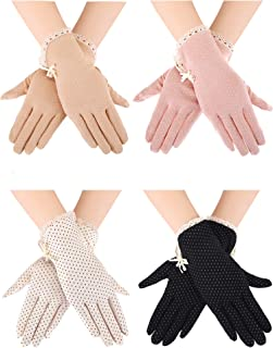 4 Pairs Summer UV Protection Sunblock Gloves Non-slip Touchscreen Driving Gloves Bowknot Floral Gloves for Women Girls