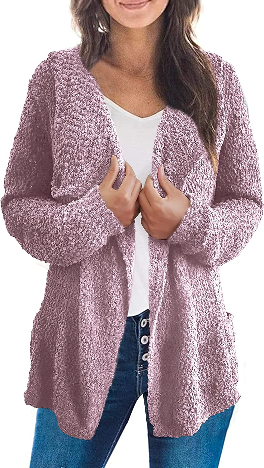 Chriselda Cardigan Sweaters for Women Loose Casual Long Sleeved Open Front Outerwear with Pockets