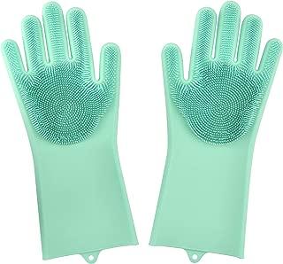 Dakik Magic Dishwashing Gloves Silicone Wash Scrubber, Heat Resistant Reusable Brush Dish Scrubbing for Cleaning, Household, Washing The Car, Pet Hair Care