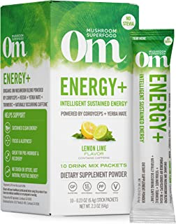 Om Mushroom Superfood Drink Mix Packets, Energy Plus, Lemon Lime, 2.1 Ounce, Cordyceps, Yerba Mate, & Vitamin C, Immune Su...
