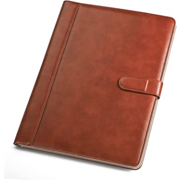 GraduatePro Portfolio Binder Leather with Magnetic Padfolio Business Folder Closure Conference Register Clipboard A4 Size Brown