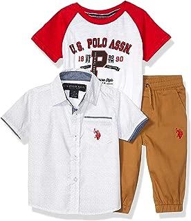 and Jogger Set Polo Assn Boys Short Sleeve Printed Woven U.S T-Shirt