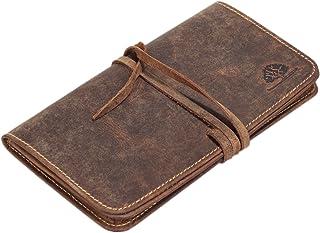 Greenburry Vintage kleine Multifunktionstasche für den KREATIVEN -Tabaktasche Geldbörse Ledertasche braun