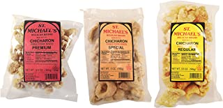 St. Michael's Chicharon, Pork Rinds Variety 3-Pack, Regular Chicharon, Premium Bulacan, and Special Chicharon Fried Pork Rinds, 3.5 oz (each)