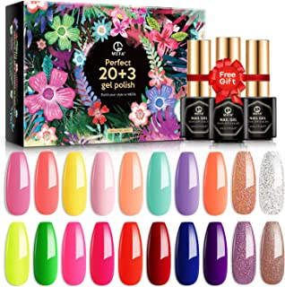 MEFA 23 Pcs Gel Nail Polish Set, Summer Collection Soak Off UV LED Nail Gel Polish with Glossy & Matte Top Coat and Base Coat Nail Art Set