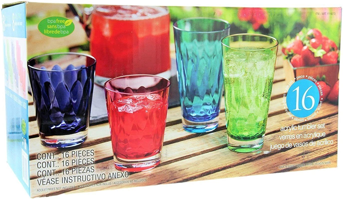 16Pc Acrylic Tumbler Set Multi Color 8 14oz And 8 21oz