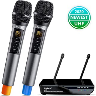 Wireless Microphone with Echo, Treble, Bass & Bluetooth, UHF Portable Dual Handheld Wireless Karaoke Dynamic Microphone System, 160 FT Range, for Karaoke Machine, Singing, Wedding, Amp, PA System