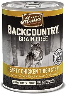 Merrick Backcountry Grain Free Wet Dog Food, 12.7 Oz, 12 Count Chicken Thigh Stew