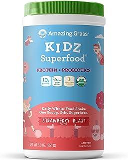 Amazing Grass Kidz Superfood: Vegan Protein & Probiotics for Kids with 1/2 Cupt of Leafy Greens, Strawberry Blast, 15 Serv...