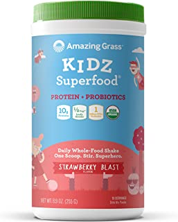Amazing Grass Kidz Superfood: Organic Vegan Protein & Probiotics for Kids, Half a Cup of Greens per Serving , Strawberry Blast, 15 Servings
