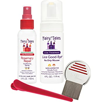 Fairy Tales Lice Good-Bye Survival Kit for Lice Treatment - Includes Treatment Mousse, Conditioning Spray, Comb, Clip