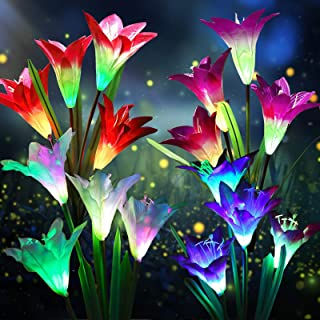K.E.J. Solar Lights Outdoor Solar Garden Lights with 8 Flower Multi-Color Auto-Changing LED Solar Powered Lily Bigger Flow...