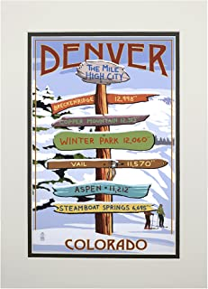 Denver, Colorado - Destinations Sign (11x14 Double-Matted Art Print, Wall Decor Ready to Frame)