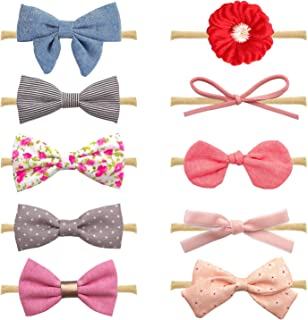 10-Pack Different Style Baby Girl Soft Headbands and Bows,Newborn Infant Toddler Hair Accessories by Shemay
