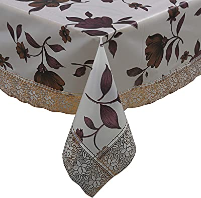 Kuber Industries PVC Butterfly Design 6 Seater Dining Table Cover - Cream