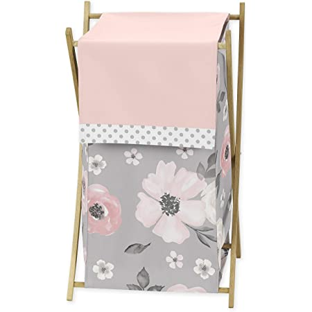 Sweet Jojo Designs Grey Watercolor Floral Baby Kid Clothes Laundry Hamper - Blush Pink Gray and White Shabby Chic Rose Flower Polka Dot Farmhouse