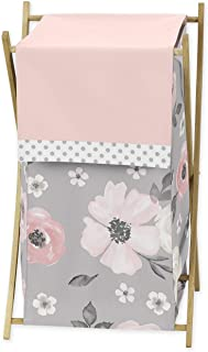 Sweet Jojo Designs Grey Watercolor Floral Baby Kid Clothes Laundry Hamper - Blush Pink Gray and White Shabby Chic Rose Flo...
