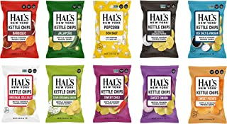 Hal's New York Kettle Cooked Potato Chips, Gluten Free, 10 Flavor Variety Pack, 2 oz (Pack of 20)