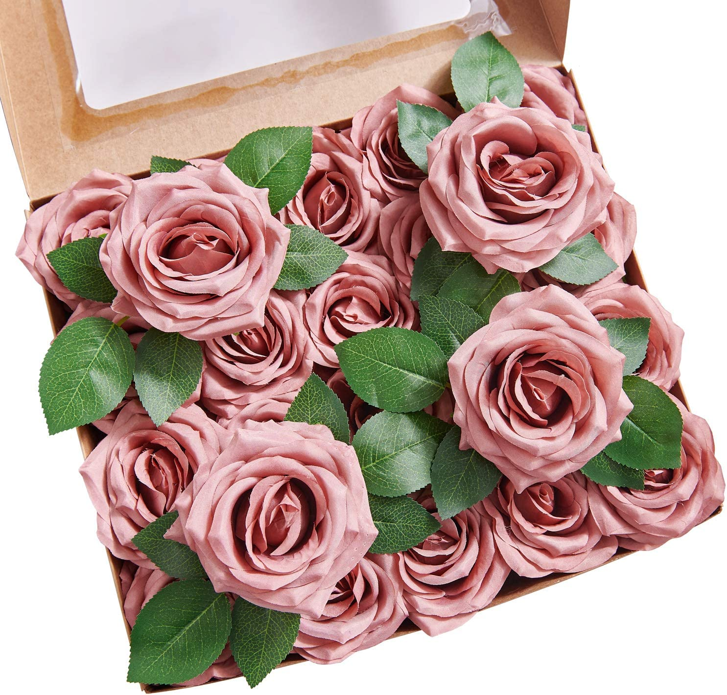 YUZZ Fake Roses Dusty Rose Artificial Roses Flowers Silk Roses Heads with Stems 25pcs Realistic Silk Roses for Wedding Centerpieces Bridal Show Bouquets Party Home DIY Flowers Decoration