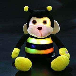 Bstaofy Light up Stuffed Bumblebee Plush Toy Honeybee Animals Night Light for Kids Glow in Dark Birhtday for Toddlers, 10.5 Inches