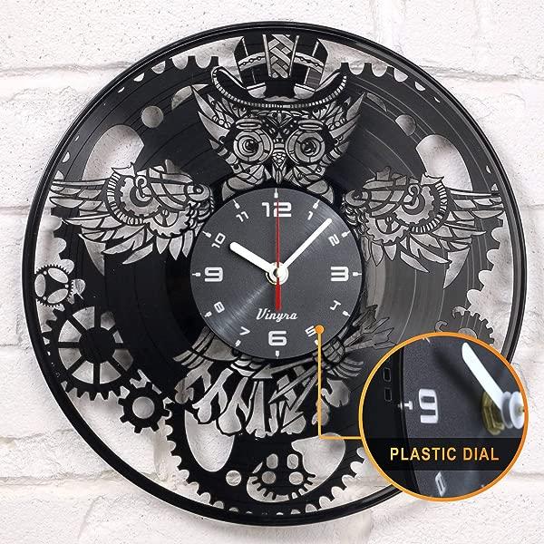 Steampunk Clock Vinyl Record OWL Mechanic Gears Vinyl Wall Clock Retro Gothic Vintage Decor Recycled Gift Geometric Wall Art Handmade Decorative Mechanical Wall Decal Steampunk Furniture Clock Black