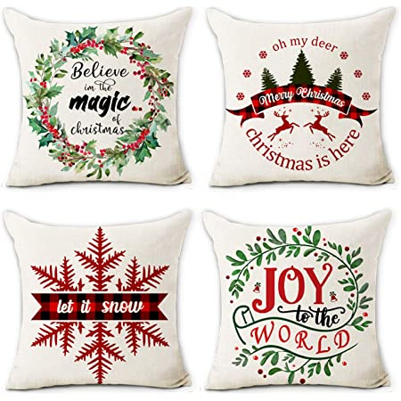 Amazon Com Hexagram Christmas Pillow Covers 18x18 Set Of 4 Cotton Line Farmhouse Home Decor Cusion Pillow Case Winter Holiday Christmas Throw Pillow Cover Home Kitchen