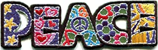 HHO Peace sign hippie boho retro flower power summer of love hippy applique Patches, Cute Applique Sew Iron on Kids Craft Patch for Bags Jackets Jeans Clothes