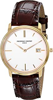 Frederique Constant Men's FC220NW4S5 Slim Line Analog Display Swiss Quartz Brown Watch