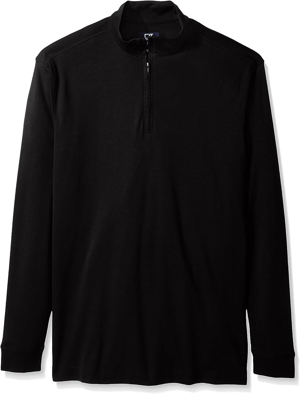 Cutter & Buck Men's Big Long Sleeve Belfair Pima Half-Zip, Black, 2X Tall