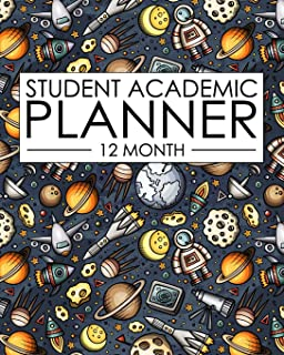 12 Month Student Academic Planner: Engineering and Space STEM themed 12-month study calendar helps elementary, high school and college students ... project (Flexible Student Academic Planner)