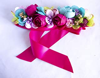 Cinturón de lazo fucsia con adorno de flores para vestido de fiesta. Envío GRATIS