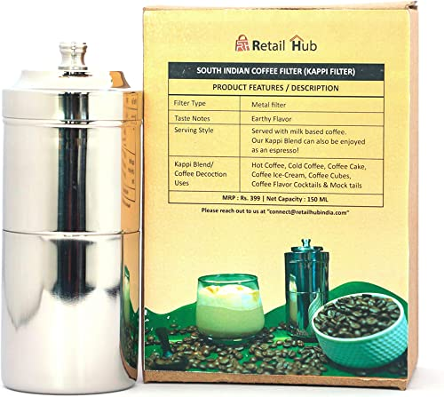 Retail Hub Stainless Steel South Indian Coffee or Kappi Filter Drip Maker Silver Small Size for Home Kitchen