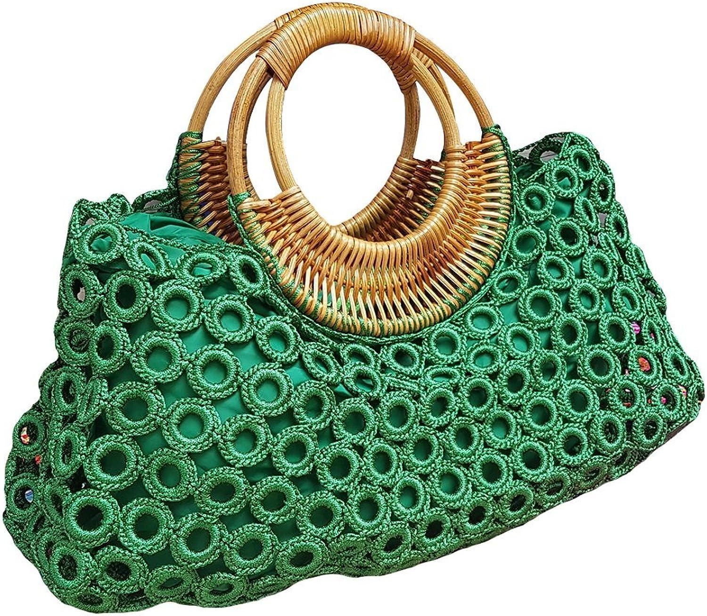 BTP Women's Handmade Crochet Bag Rattan Loop Top Handles Handbags