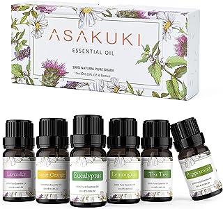ASAKUKI Aromatherapy Essential Oils includes Lavender, Eucalyptus, Lemongrass, Tea Tree, Sweet Orange and Peppermint, Wate...