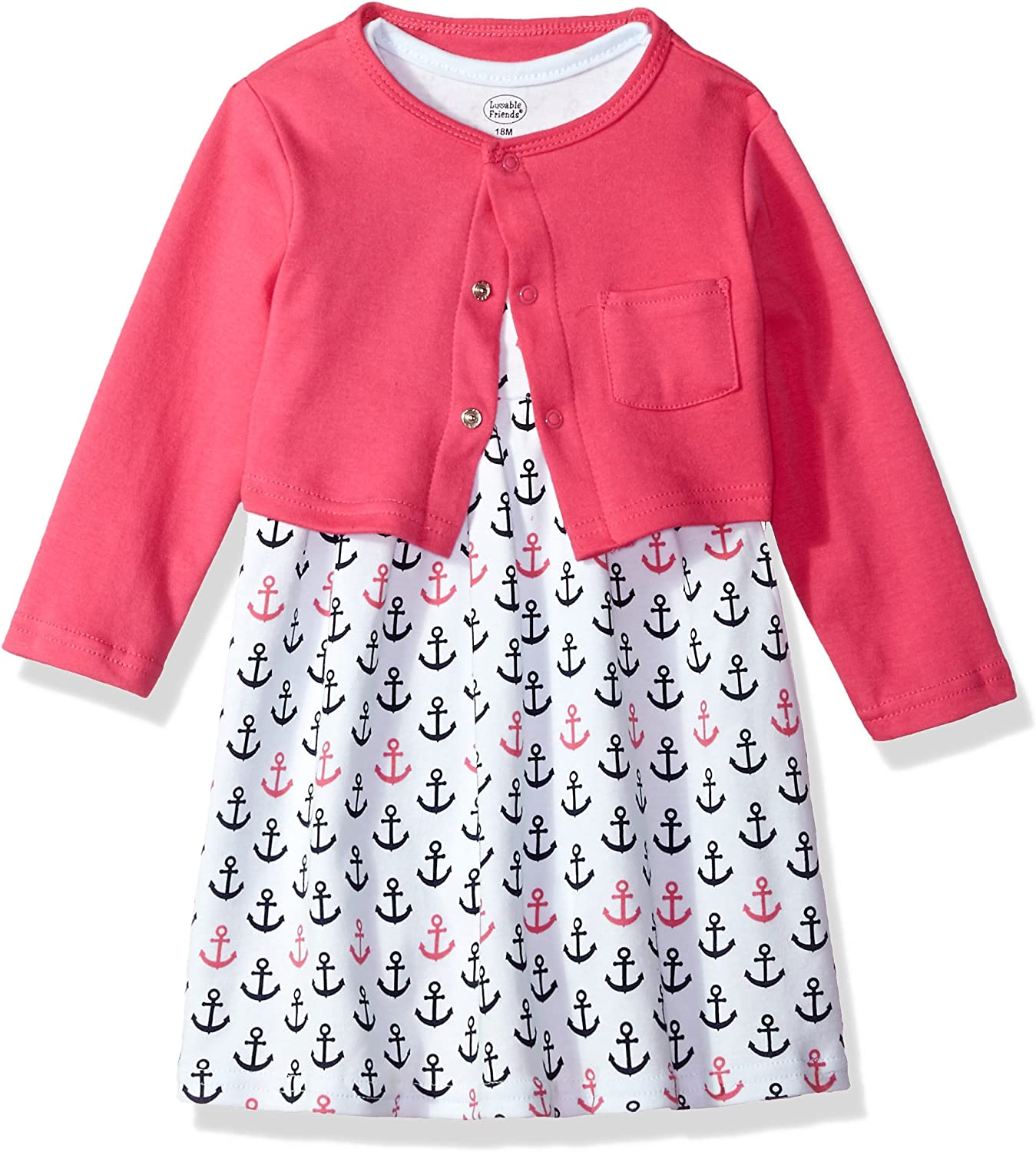 Luvable Friends Girl Dress and Cardigan Set Pink Floral