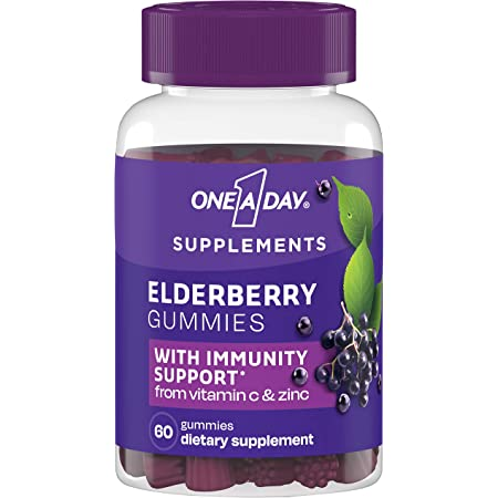 One A Day Elderberry Gummies with Immunity Support from Vitamin C and Zinc, Gluten Free, Dietary Supplement for Adults, 60 Count