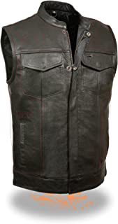 SOA Men's Basic Leather Motorcycle Vest w/ 2 Inside Gun Pockets Collared & No Collar versions (Large, With Collar)