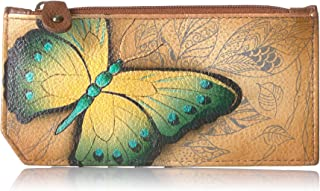 Hand Painted Leather Women's RFID Blocking Card Case with Coin Pouch