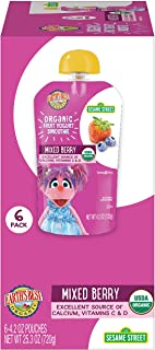 Earth's Best Organic Sesame Street Toddler Fruit Yogurt Smoothie, Mixed Berry, 4.2 Oz Pouch (Pack of 12)