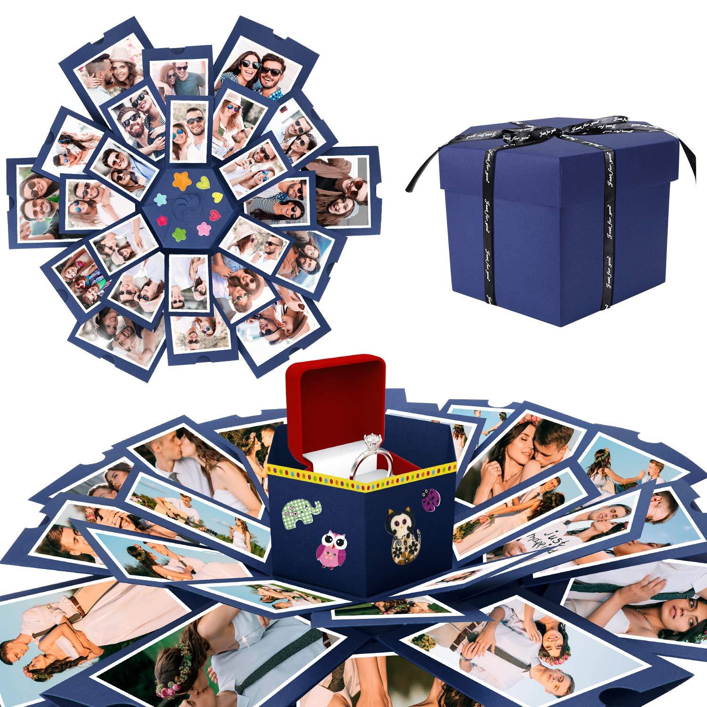 WisFox Explosion Box, Creativo DIY Hecho a Mano Sorpresa Explosión Caja de Regalo Amor Memoria, Álbum de Fotos de Scrapbooking Caja de Regalo para Cumpleaños Día de San Valentín Aniversario Navidad: Amazon.es: