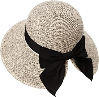 Womens Packable Straw Fedora Sun Cloche Hat Ponytail Summer Beach Panama 55-60cm
