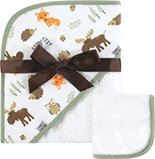 Hudson Baby Print Woven Hooded Towel and Washcloth, Woodland, One Size